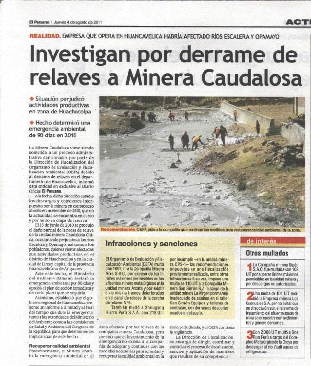 Investigan por derrame de relaves a Minera Caudalosa