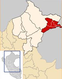 Mapa de ubicación del distrito loretano de Yavarí (color rojo)