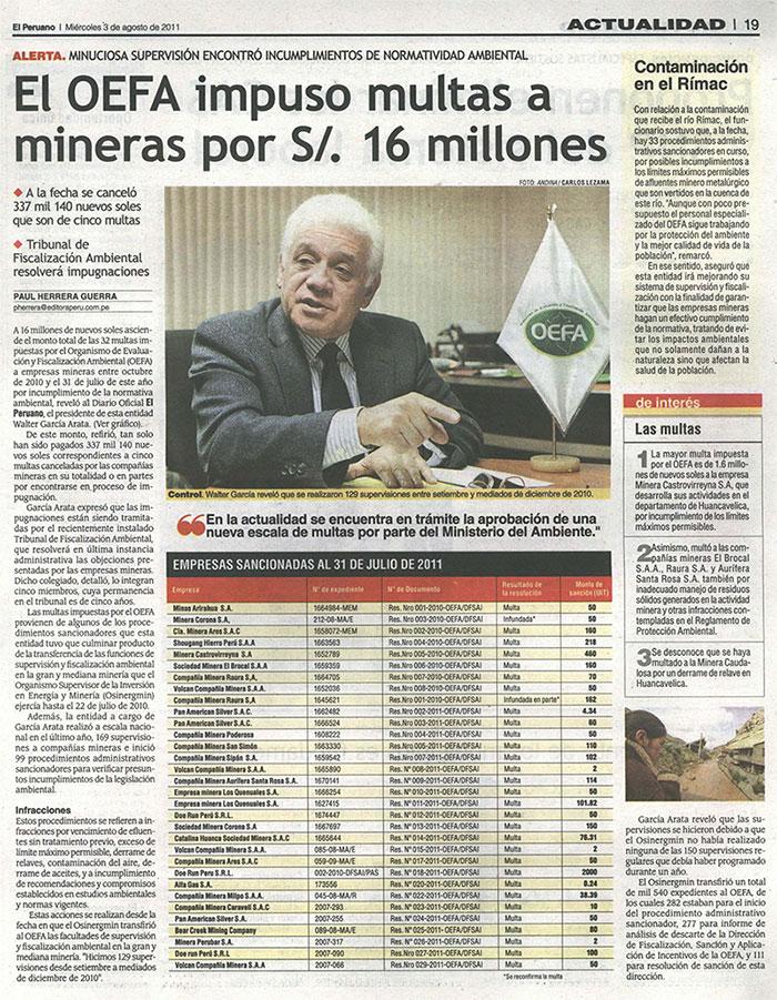 OEFA impuso multas a mineras por 16 millones