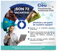 OEFA ofrece 72 becas de estudio para su Curso de Extensión Universitaria 2022