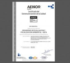 OEFA recibe la certificación ISO 9001:2015 Sistema de Gestión de la Calidad para el proceso de Supervisión Ambiental