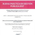 Dos iniciativas del OEFA son certificadas como Buenas Prácticas en Gestión Pública 2017